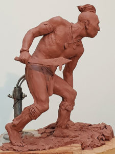 First marquette model of the Kanza hunter sculpture
