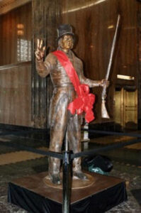 Francois Chouteau bronze sculpture on display at Kansas City, Missouri, City Hall