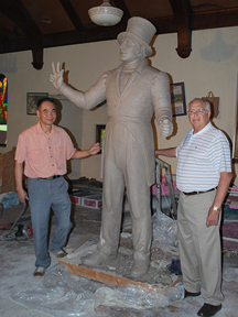 Kwan Wu, sculptor; clay model of Francois Chouteau; Keith Nelson