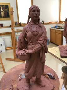 Osage woman, marquette clay sculpture