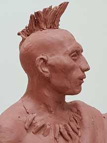 Osage man, marquette clay sculpture
